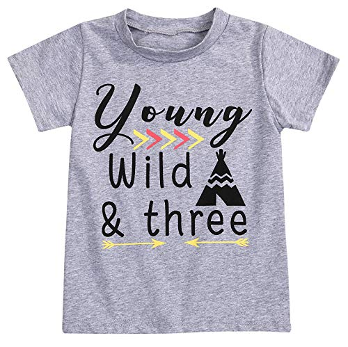 YOUNGER STAR 1PC Children Baby Boy Gray Letter Print Short Sleeve T-Shirt Clothes Outfit (5 T, Gray C)