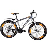 OMAAI Mountain Bike Speedometer, 27 Speed Bicycle Alloy Wheels Full Suspension (Orange) (N)