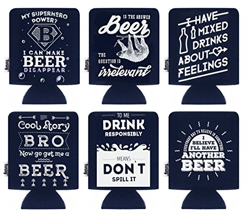 Funny Can Beer Cooler - Bachelor Party Insulator in Bulk of 6 - Beer Can Cooler for Cans and Bottles ()
