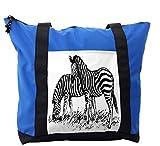 Lunarable Africa Shoulder Bag, Zebra Animal Sketch Artwork, Durable with Zipper