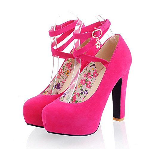 Platform Thick Pumps Shoes Fashion Sexy High Buckle Lady Women Heel Red LongFengMa vd6xzwtqv