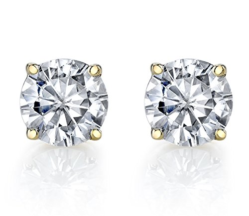Charles & Colvard 4mm Forever Classic Moissanite Set in Solid 14k Yellow Gold 4 Prong Screw Back Stud Earrings (0.44cttw Moissanite, 0.50ct DEW, Near Colorless) (Moissanite)