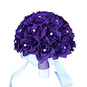 Purple Roses Bridal Wedding Bouquet with Ivory Stain Ribbon Handle 83
