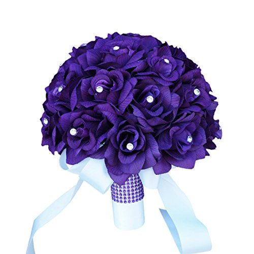 Purple wedding bouquets amazon purple roses bridal wedding bouquet with ivory stain ribbon handle junglespirit Images