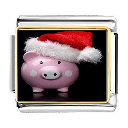 GiftJewelryShop Gold Plated Wearing a Santa Hat Pig Bracelet Link Photo Italian Charms