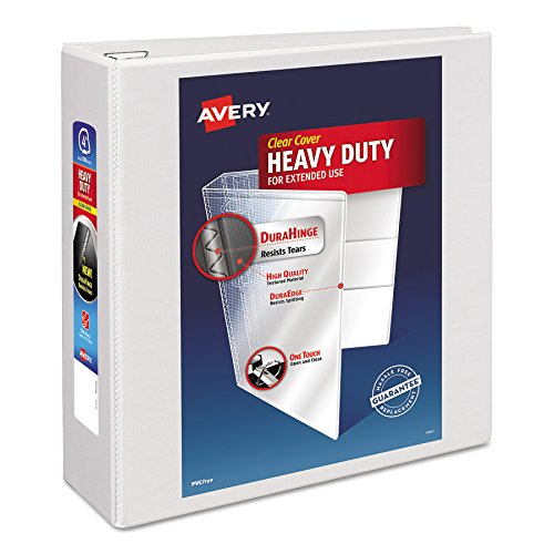 Avery Heavy-Duty View Binder with 4-Inch One Touch EZD Ring, White (79104) (4 Inch Easy Open D-ring)