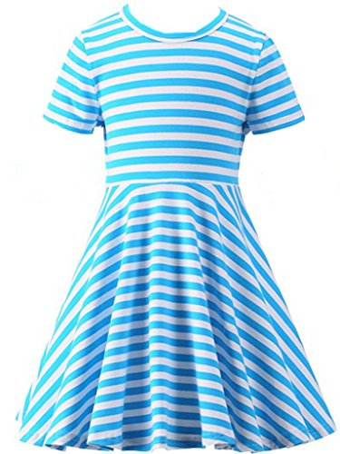 Happy Rose Girls' Cotton Short Sleeve Twirly Skater Party Dress 6 -