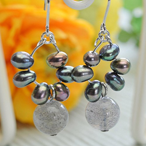 Freshwater Cultured Pearl & Labradorite , Pierced Earring Gemstones , Titanium Hook