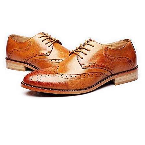 Zapatos Tallado Genuino Cuero De Moda Hombre Oxfords zapatos Cordones Forrados Con Transpirable Negocios Hueco Mate Marrón Jialun BTHFCWq
