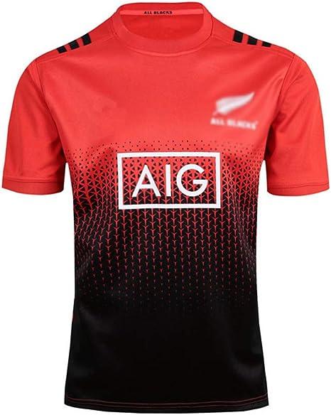 WYNBB 2017 Rugby Jersey Equipo De Nueva Zelanda All Blacks Fan T-Shirts Hombres Deportes Secado rápido de Manga Corta Fútbol Americano Jerseys: Amazon.es: Deportes y aire libre