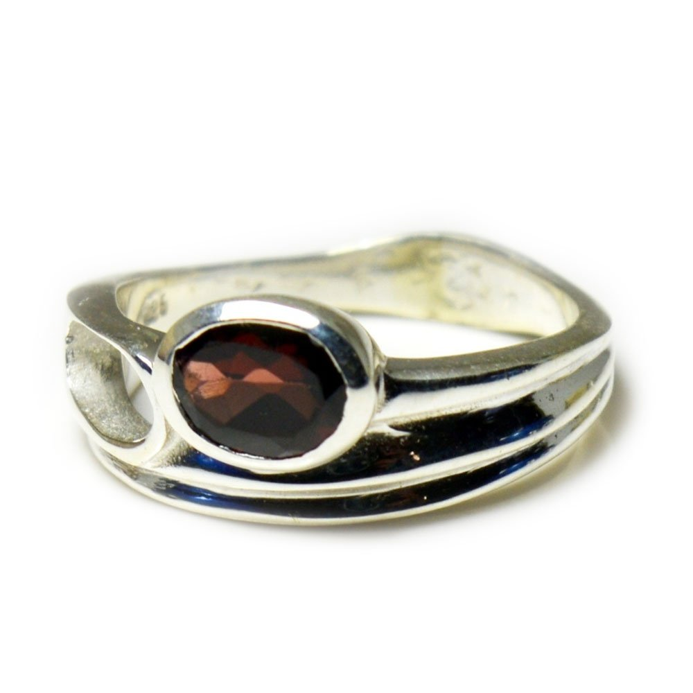 Gemsonclick Natural Oval Shape Garnet 925 Sterling Silver Ring Fashion Jewelry Size 4-13