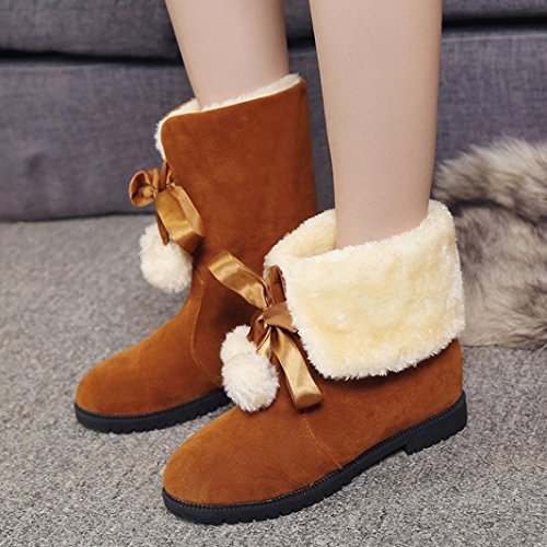 Kolylong Women Winter Warm Bowknot Snow Boots Flats Shoes Brown 2 L5XfbARE0