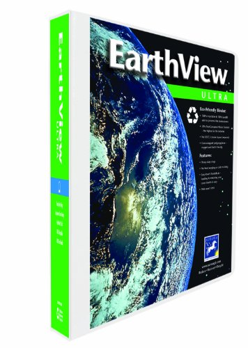 Aurora GB EarthView Ultra Binder, 1 Inch Round Ring, 8 1/2 x 11 Inch Size, White, Linen Embossed, Eco-Friendly, Recyclable, Made in USA (AUA10129)