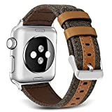 Bands for Apple Watch, SKYLET 42mm Canvas Fabric with Genuine Leather with Metal Clasp for Apple Watch Series 2 Series 1 Series 3 Edition Nike+ (Smart Watch Not Included)[Brown]