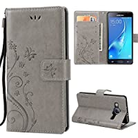 Galaxy J3 Case,Premiun Wallet Leather Credit Card Holder Butterfly Flower Pattern Flip Folio Stand Case for Samsung Galaxy J3 2016 J320 & Amp Prime & Express Prime With a Wrist Strap - Grey
