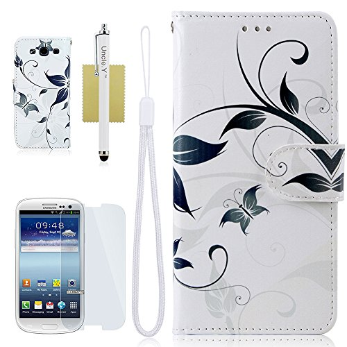 Galaxy S3 Case,S3 Case,@Uncle.Y Leather Wallet Case Stand Flip Case Fashion Design Pattern Protective Case for Samsung Galaxy S3 I9300 (white flower)