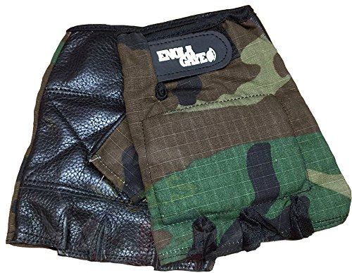 Enola Gaye Camo Padded Leather Half Finger Fingerless Paintball and Airsoft Quality Leather & Rip Stop Cotton Gloves - Size Medium by EnolaGaye