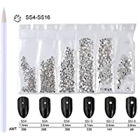 WOKOTO Nail Crystals Clear Rhinestones White Flatback 3d Decorations For Nails With Picker Pencil Mix-Size SS4-SS16 Diamonds For Nails Art Girls