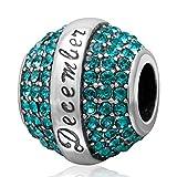 Birthstone Charm Beads 925 Sterling Silver Crystal Charm Friend Charm Birthday Charm Christmas