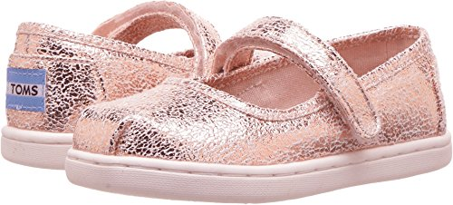 TOMS Kids Baby Girl's Mary Jane (Infant/Toddler/Little Kid) Rose Gold Crackle Foil 7 M US Toddler -