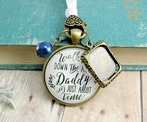- Wedding Bouquet Charm Walk Me Down The Aisle Daddy Rustic Father Remembrance Memorial Keepsake White Blue Photo Frame Jewelry