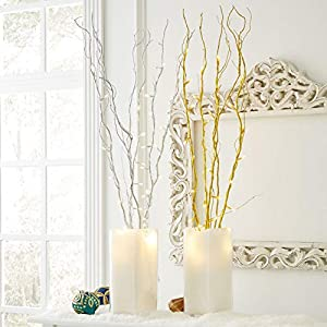 BrylaneHome Set of 5 Cordless Pre-Lit Shimmer Branches with Timer 28