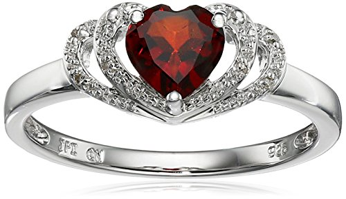 Sterling Silver Garnet and Diamond Accent Open Halo Heart Ring, Size (Garnet Heart Ring)