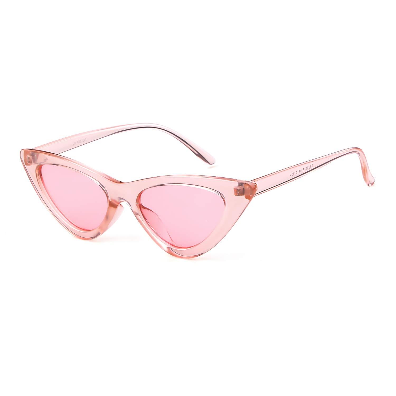 f445a442a1 Amazon.com  Gifiore Retro Vintage Cat Eye Sunglasses for Women Clout  Goggles Plastic Frame Glasses (Black Pink