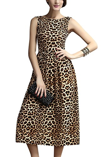 Most Romantic Womens Fashion Leopard Print Slim Fit Summer Casual Dress