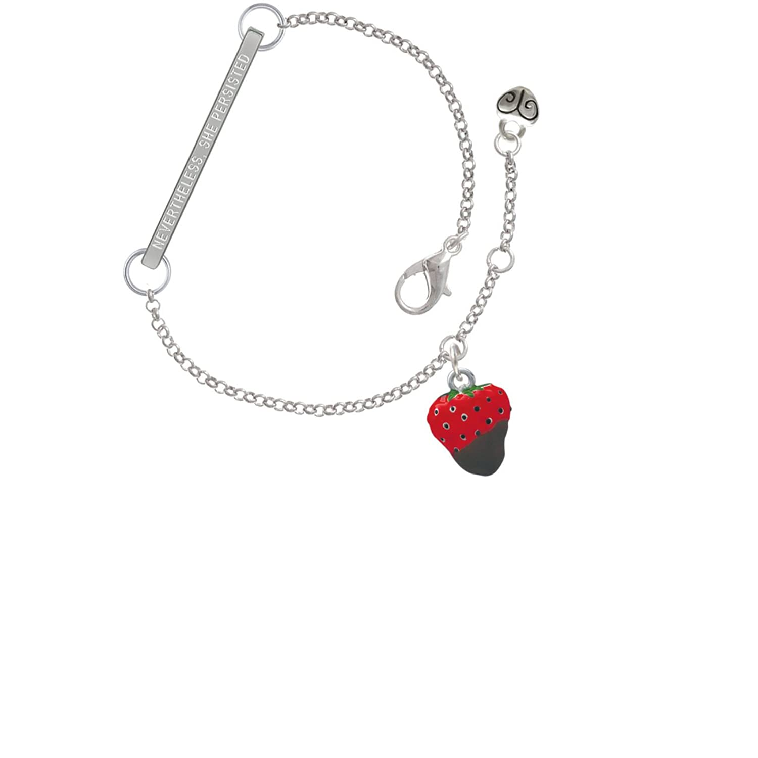 3-D Chocolate Dipped Strawberry Nevertheless She Persisted Delicate Bar Bracelet