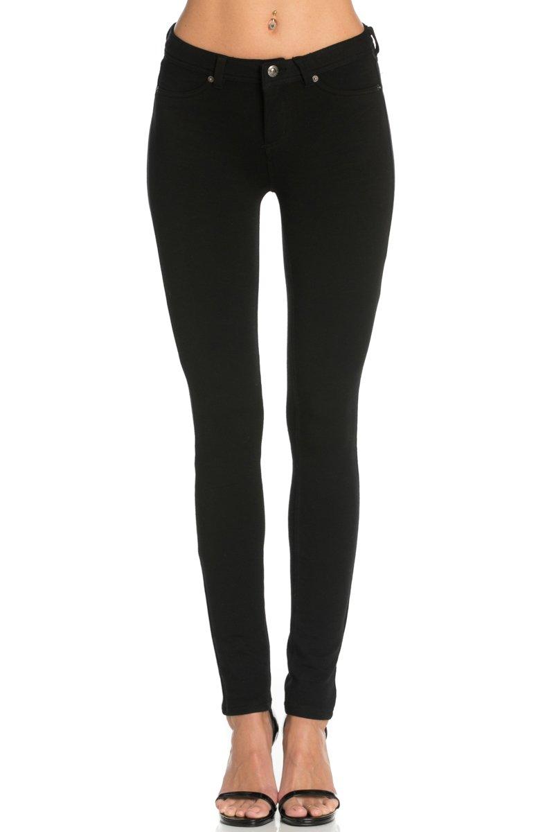 Poplooks Women's Casual Mid Rise Stretch Skinny Knit Jegging Pants Black Medium