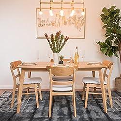 Helen Mid Century Fabric & Wood Finish 5 Piece Dining Set (Oak/Light Beige)