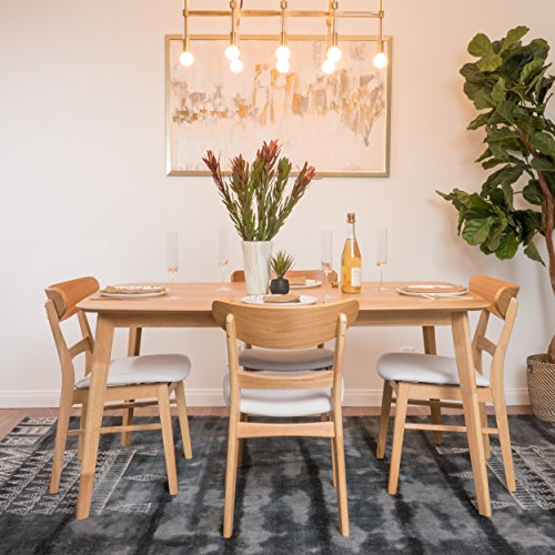 Helen Mid Century Fabric & Wood Finish 5 Piece Dining Set (Oak/Light Beige)
