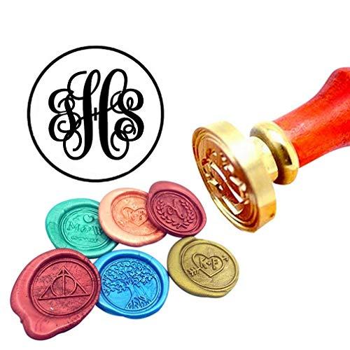 (Kooer Custom Personalized Monogram Wax Seal Stamp Wedding Sealing Wax Stamp Kit Initials Wax Stamp Custom Wedding Anniversary Invitation (Style)