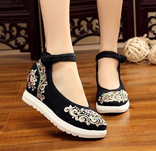 Folk Pendiente Zapatos Bordado Zapatos Con Zapatos Cómodo Retro Estilo Dichotomanthes De Beijing KHSKX black Tacon Alto Fondo Antiguo 1qvH004wg