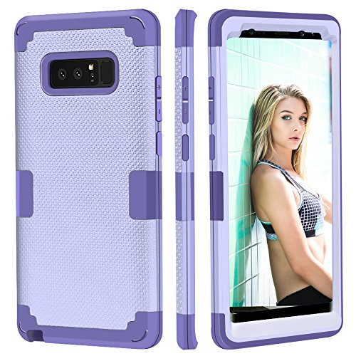 Galaxy Note 8 Case, KAMII [3in1 Anti-Slip] New Design Slim Fit Textured Shockproof Hybrid Hard PC Bumper Silicone Anti-Scratch Protective Case Cover for Samsung Galaxy Note 8(6.3 inch) (Light Purple)