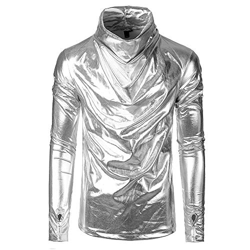 (Fashion New AmyDong Men's Long Sleeve Bright Collar Glossy Stacked Glove Personality Blouse Tops Shirt)