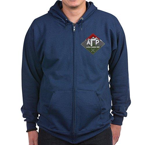 CafePress - Alpha Gamma Rho Moutains Diamonds Sweatshirt - Zip Hoodie, Classic Hooded Sweatshirt with Metal Zipper Navy