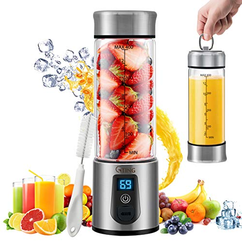 Portable Blender, G-TING Personal Smoothies Blender Cordless, Single Serve Mini Blender 450ml USB Rechargeable Small Juice Mixer 6 Blades Portable Juicer for Shakes, Smoothies, Home, Travel & Gym (FDA BPA Free) (Best And Easiest Juicer)