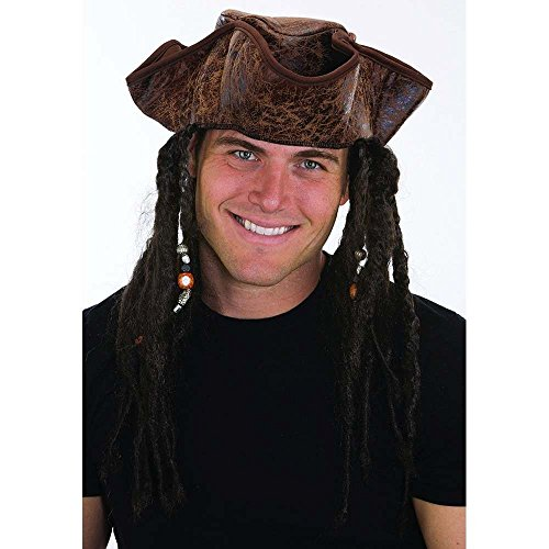 Adult Caribbean Pirate Costumes (Jacobson Hat Company Men's Caribbean Pirate with Braids, Brown, One Size)