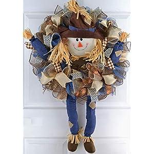 Scarecrow Thanksgiving Deco Mesh Wreath | Fall Front Door Wreath; Burlap Blue Brown 110
