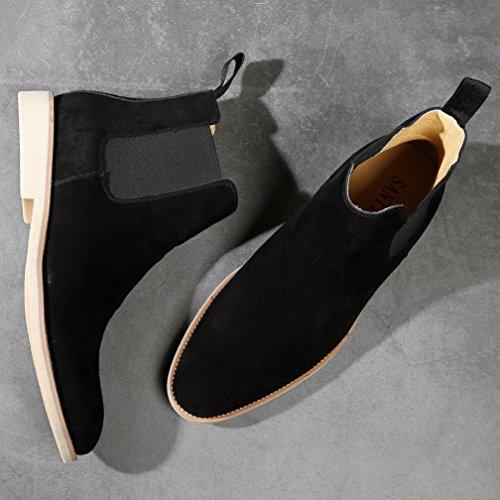 Chelsea Boots Kle For Menns Uformelle Spiss Tå Boot Forretnings Utendørs Ankel-høy Semskede Støvler 3 Farger Sort