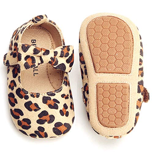 Bear Mall Baby Shoes Toddler Ballet Flats Rubber Soft Sole Mary Jane Leopard Print Princess Dress Shoes (4.72 inch (6-9 Months), Leopard Beige)