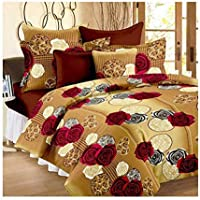 MACHERAON 150 TC 100% Poly Cotton Double Bedsheet with 2 Pillow Covers Size 90 by 90 3D Printed Multi Colour