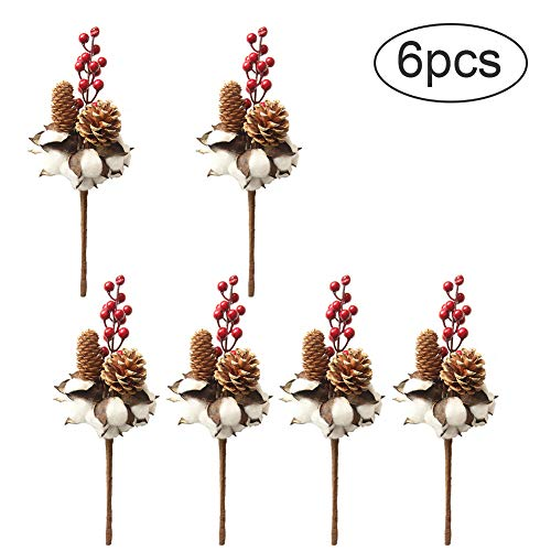 Kingkun 6 PCS Artificial Cotton Stems with Red Berries and Pine Cones Farmhouse Style Flowers for Home Wedding Christmas Halloween Party Decoration ()