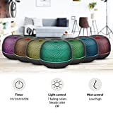 PLEMO 500ml Essential Oil Diffuser, Metal Mesh Ultrasonic Cool Mist Humidifier with 7 Color LED Lights, Waterless Auto Shut-off for Office Home Room Yoga Spa