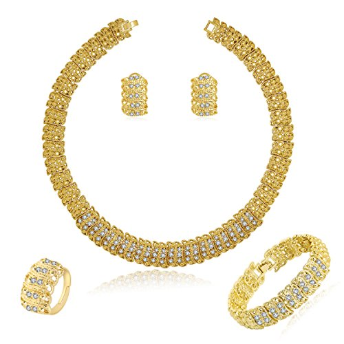 MOOCHI 18K Gold Plated Shinning Wide Necklace Rhinestone Costume Jewelry Sets Necklace Earrings Bracelet Ring for Women