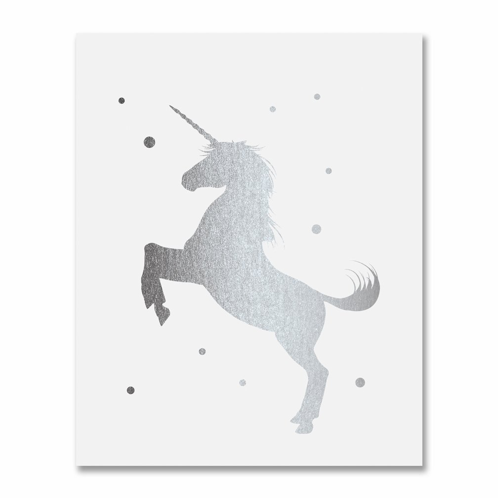 Amazon Com Unicorn Silver Foil Print Small Poster Nursery Art