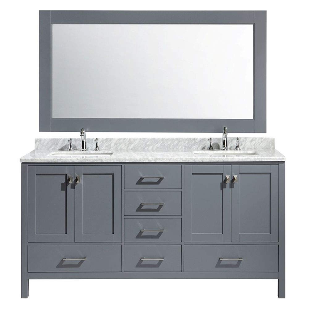 Design Element Dec082b G London Hyde 72 Double Vanity Set With Oak