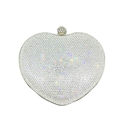de à Mariage Sac pour Red Silver Main Color Cristal en de Joy en Femme Coeur Miss pour Forme discothèques 6qCgEg